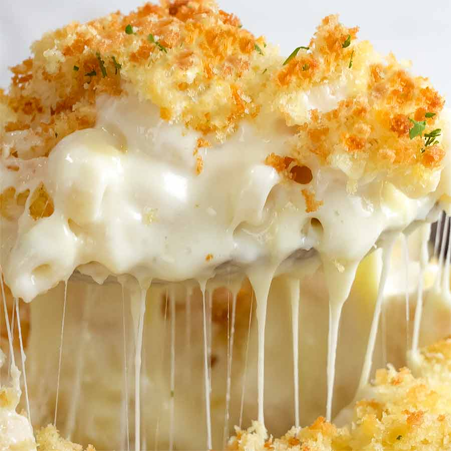 Close up of freshly made Baked Mac and Cheese