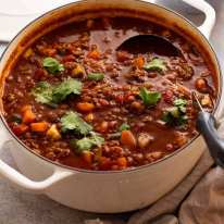 Pot of Beef and Lentil Soup (ground beef / beef mince) fresh off the stove