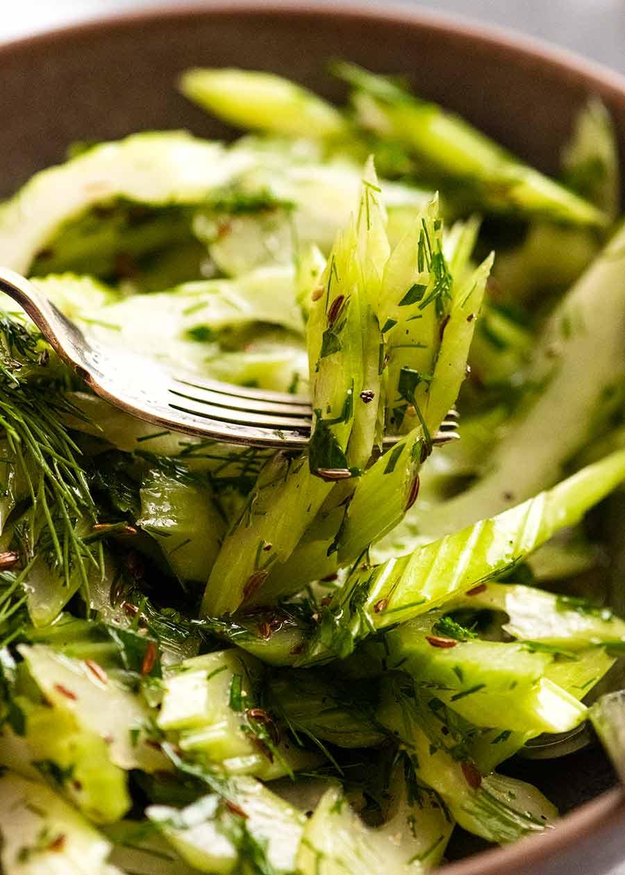 Fork picking up Celery Salad