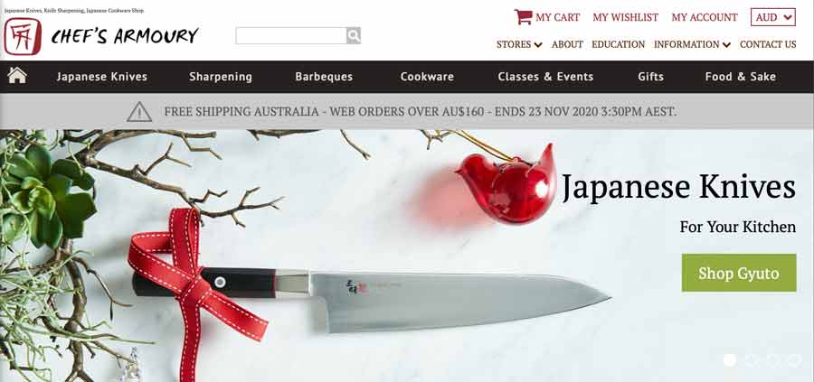 ChefsArmoury - website for Japanese knives in Australia