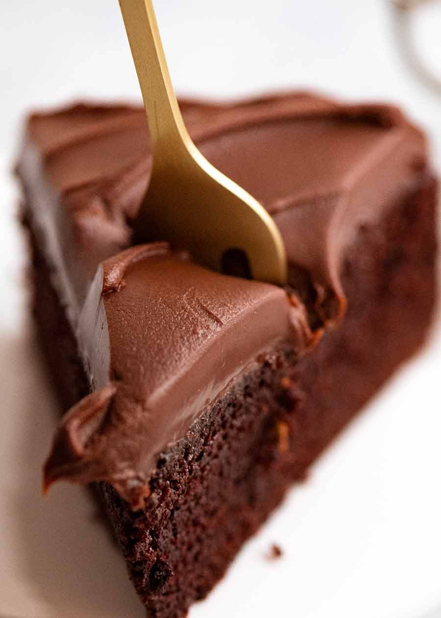 Chocolate Ganache frosting on chocolate cake