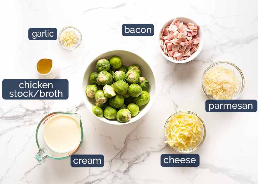 Ingredients in Brussels Sprouts in a creamy sauce with bacon
