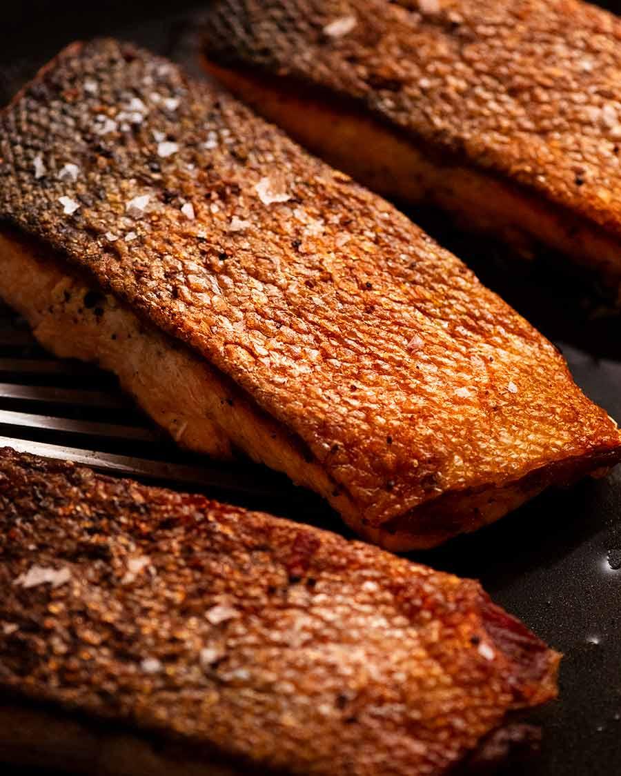 Crispy Skin Salmon in a skillet, fresh off the stove