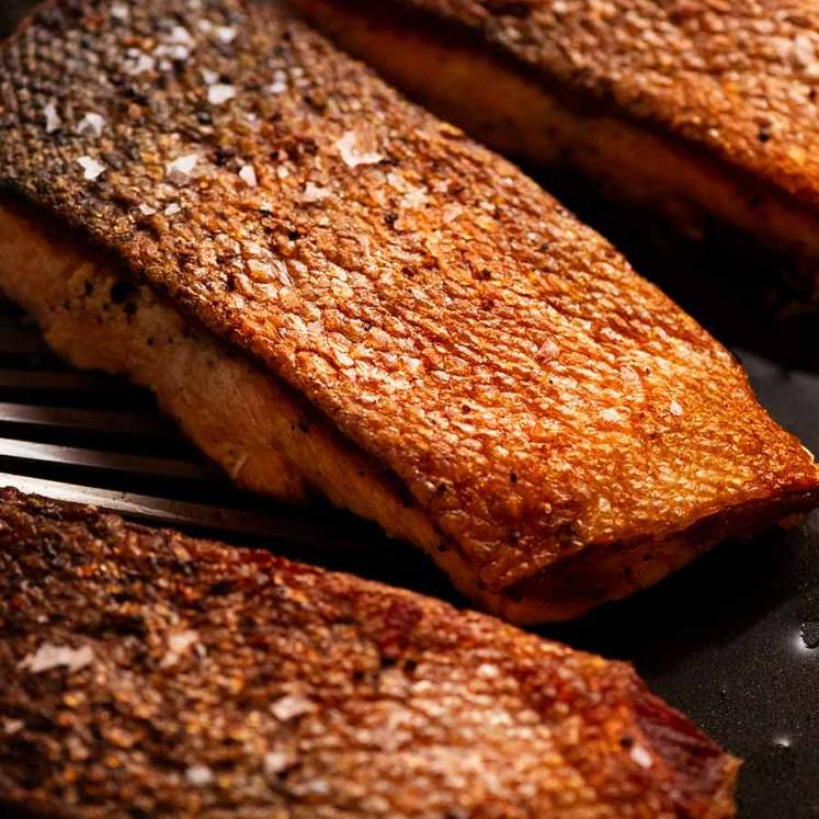 Crispy Skin Salmon in a skillet, fresh off the stove