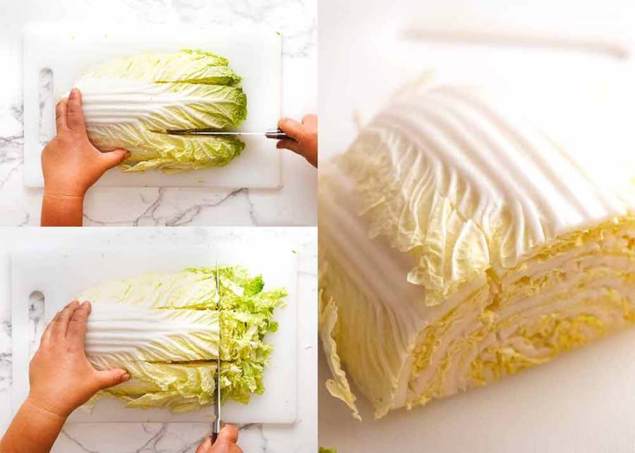 Cutting cabbage for Chang's Crispy Noodle Salad