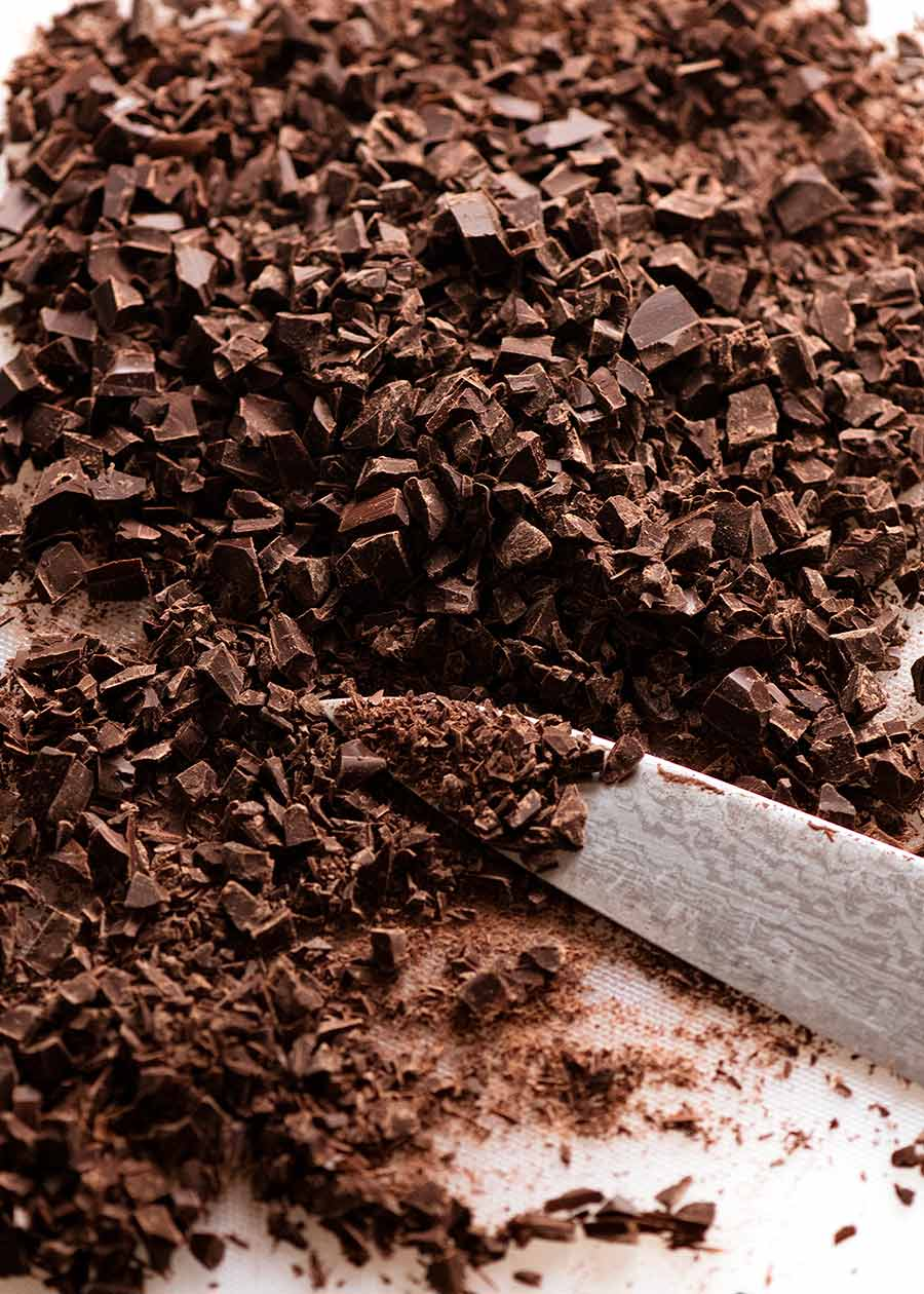 Finely chopped chocolate for Chocolate Ganache