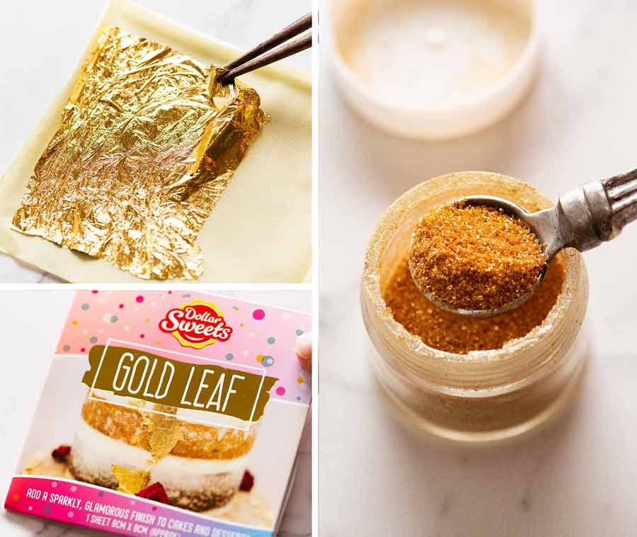 Gold leaf and gold dust for cake decorating