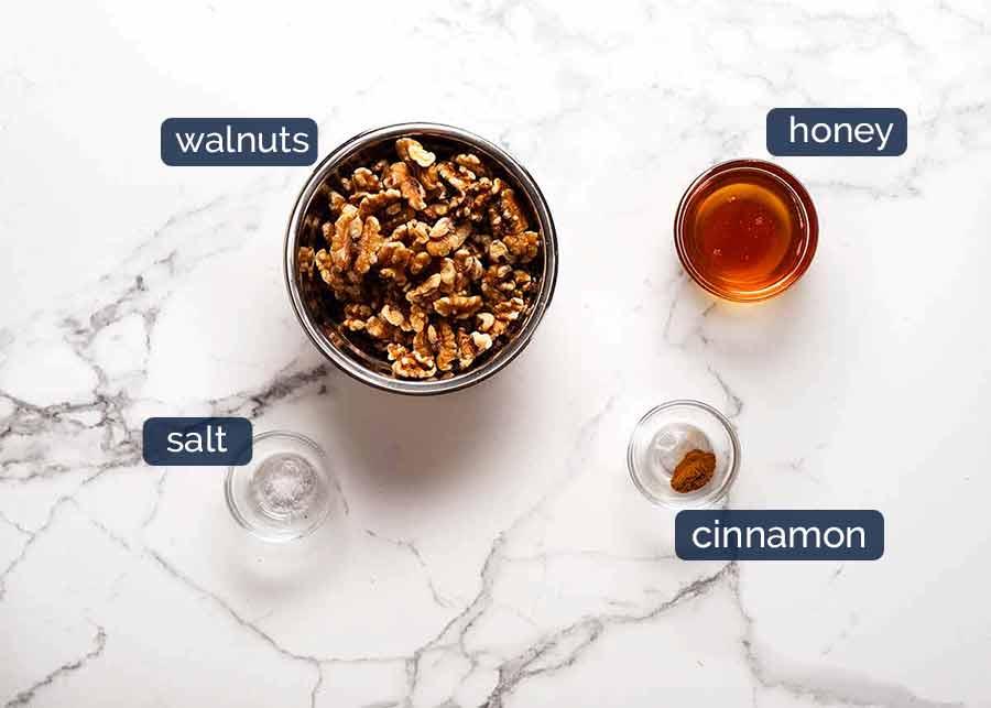 Ingredients in Honey Cinnamon Walnuts for Pomegranate Salad