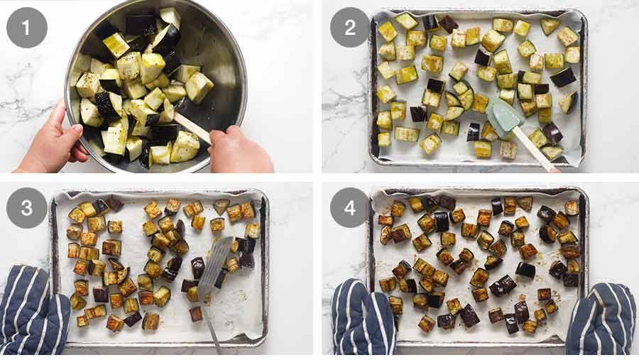Roasting eggplants for Pasta all Norma - Eggplant Pasta