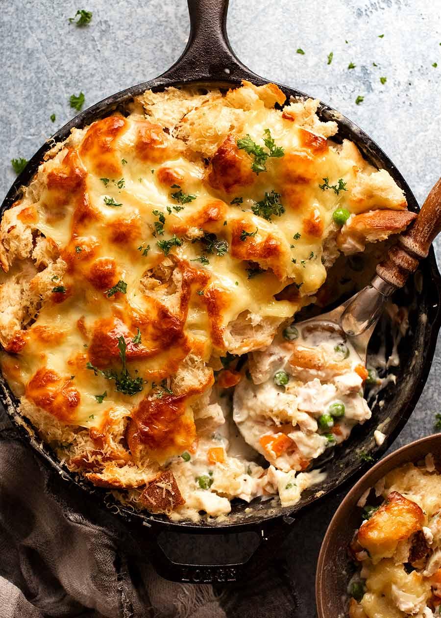 Garlic Bread Leftover Turkey Pot Pie