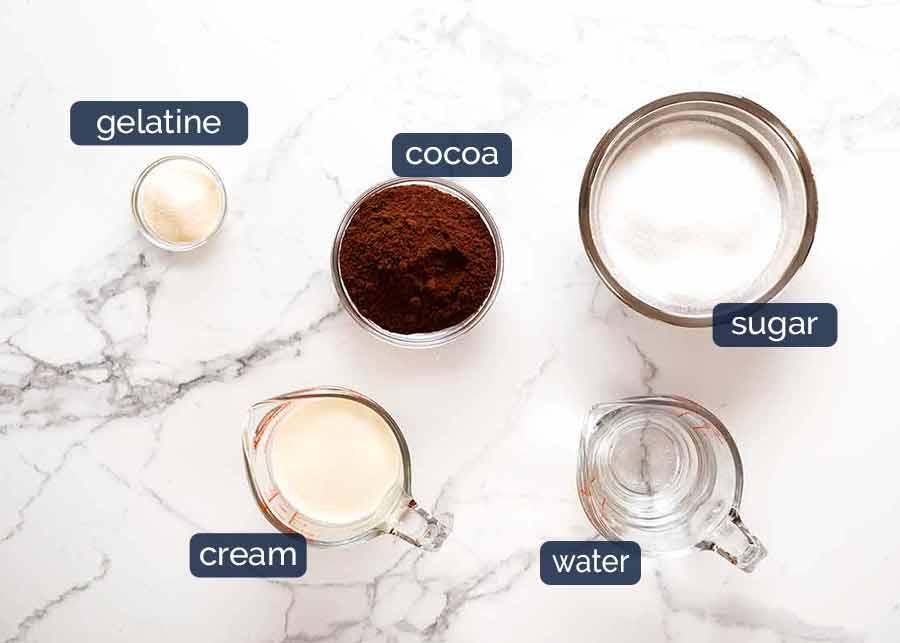 Chocolate Mirror Glaze ingredients