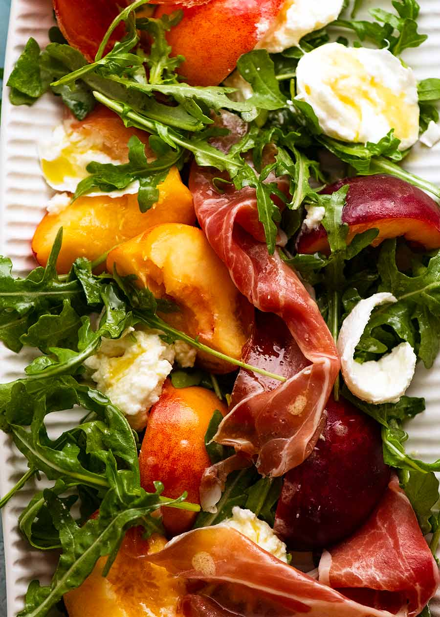 Overhead close up of Peach Salad on a platter ready to be served
