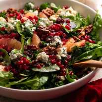 Close up side photo of Pomegranate Salad in a bowl, ready to be served