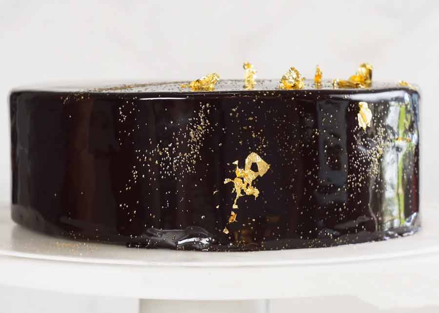 Photo of Chocolate Mirror Glaze Cake from the side