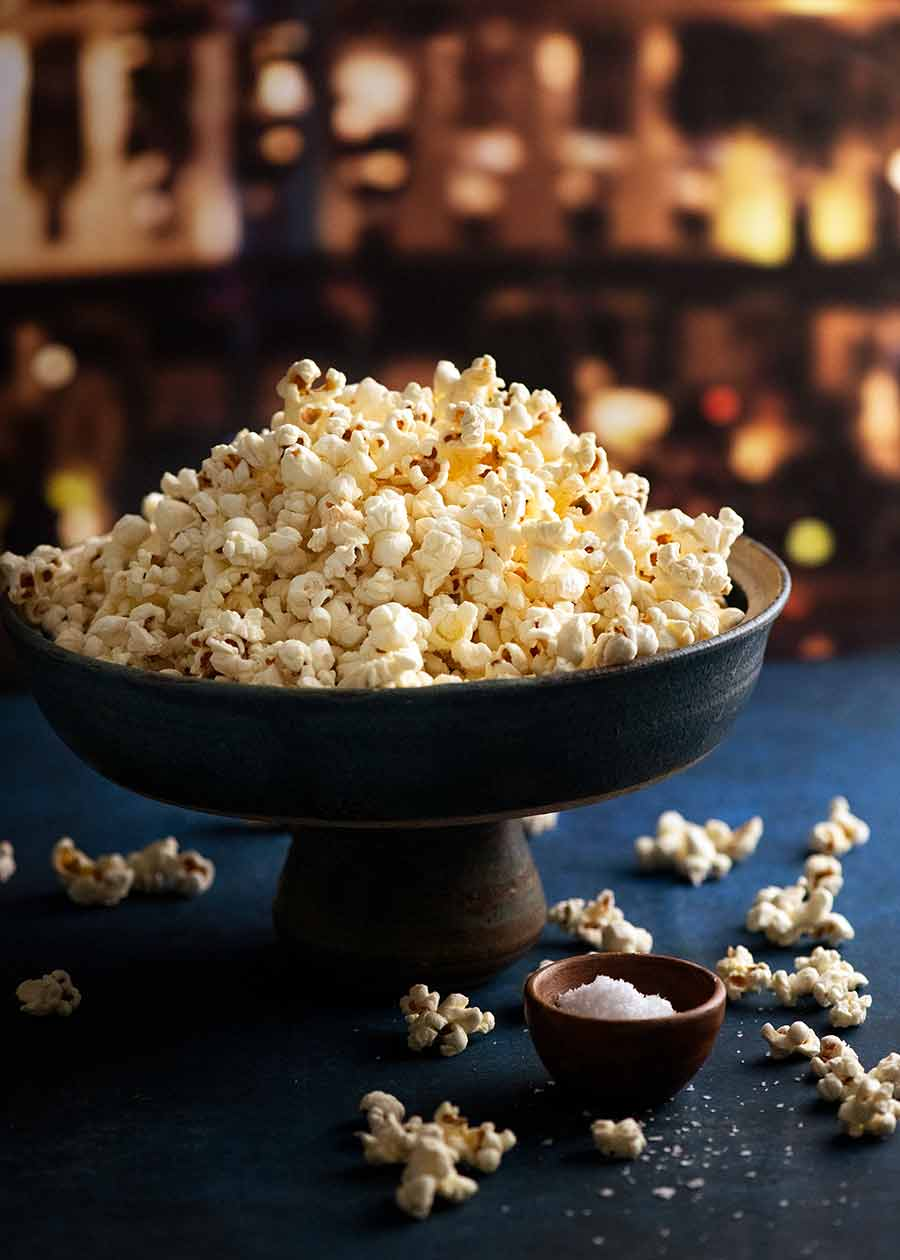 Slightly sweet and salty butter popcorn in a bowl, ready to be eaten