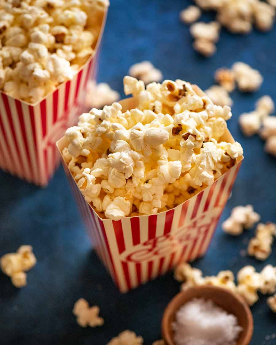 Slightly sweet and salty butter popcorn in popcorn holders