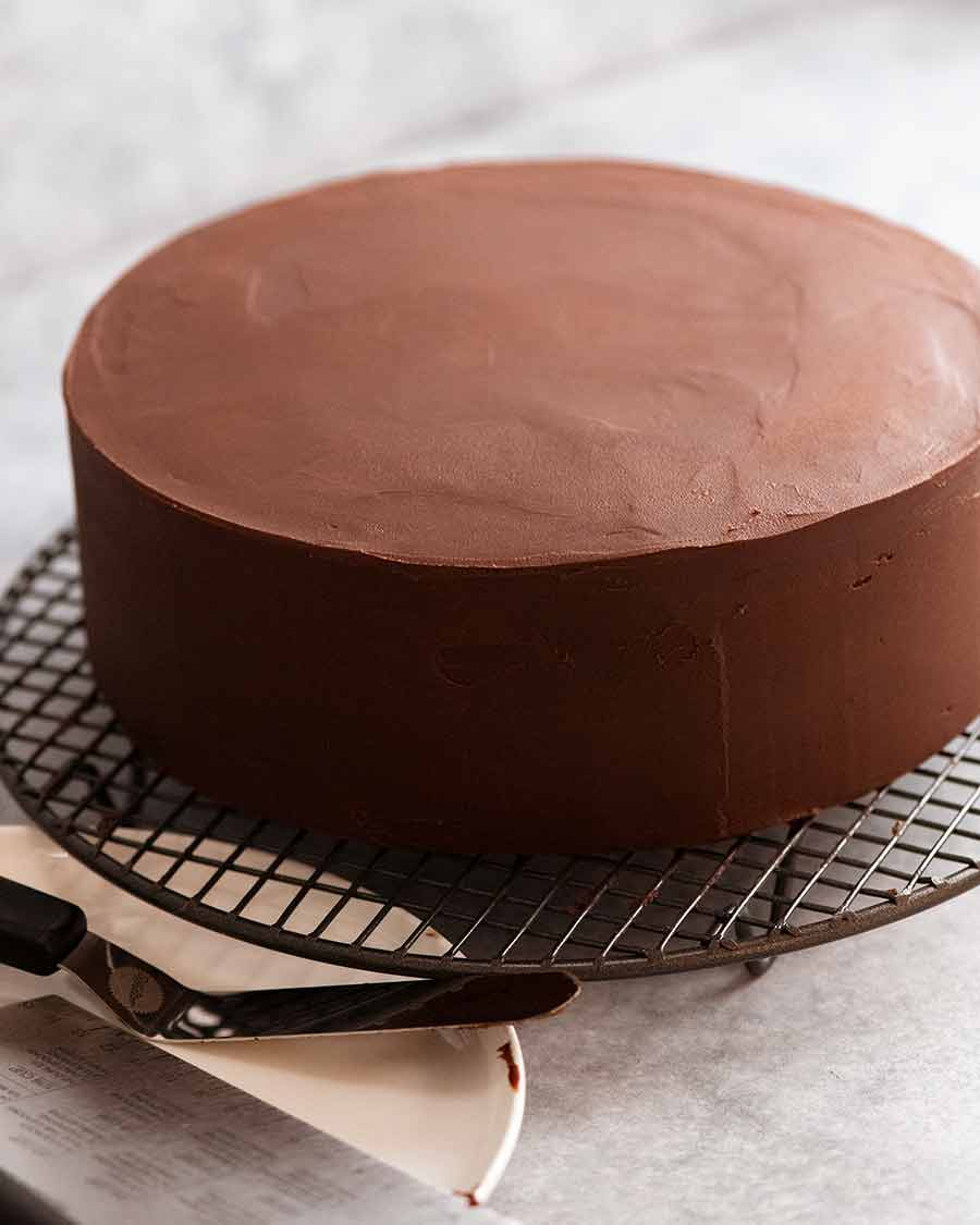 Smooth Chocolate Ganache covered chocolate cake