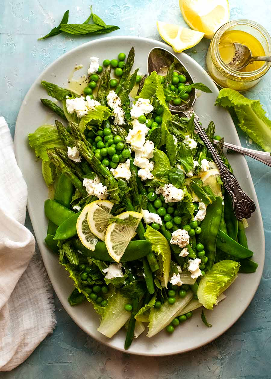 Platter with Spring Salad - with asparagus, peas, snow peas, baby cos lettuce (romaine) and goats cheese