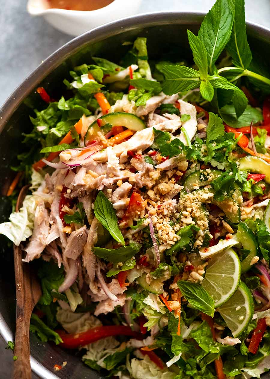 Close up of Vietnamese Chicken Salad in a bowl, ready to be eaten