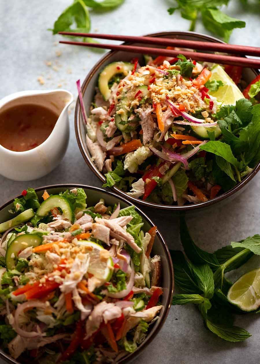 Two bowls of Vietnamese Chicken Salad ready to be eaten