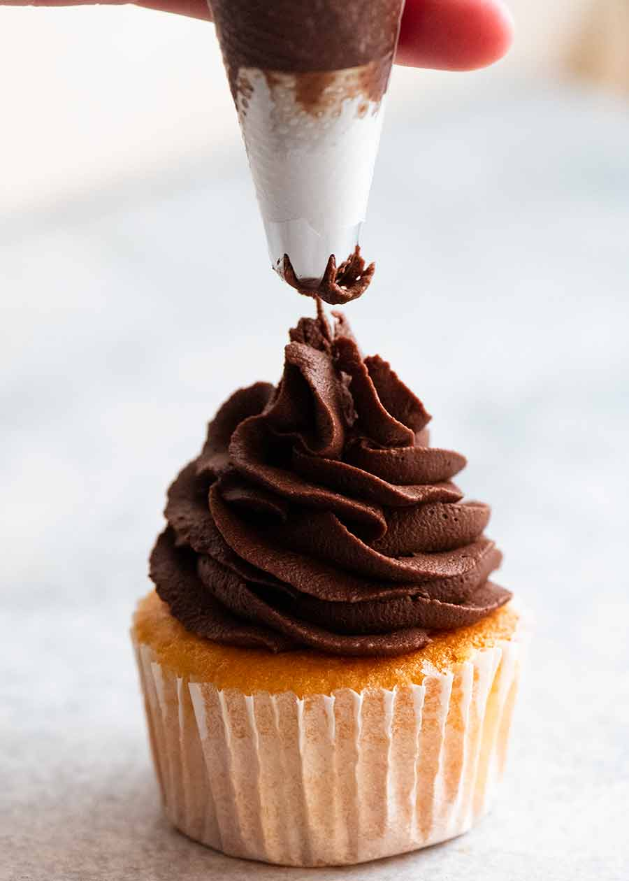 Whipped Chocolate Ganache on Cupcakes