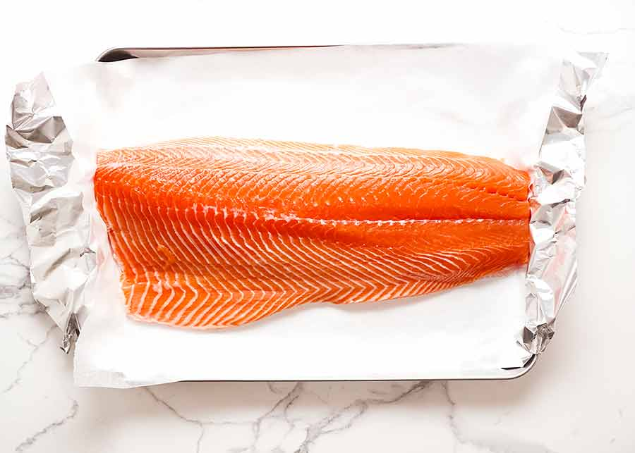 Raw side of salmon for Christmas Baked Salmon