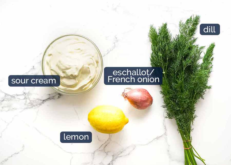 Ingredients for Creamy Dill Sauce for Christmas Baked Salmon