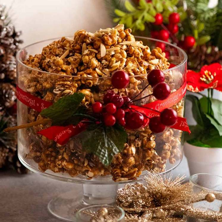 Bowl of Christmas Popcorn Candy