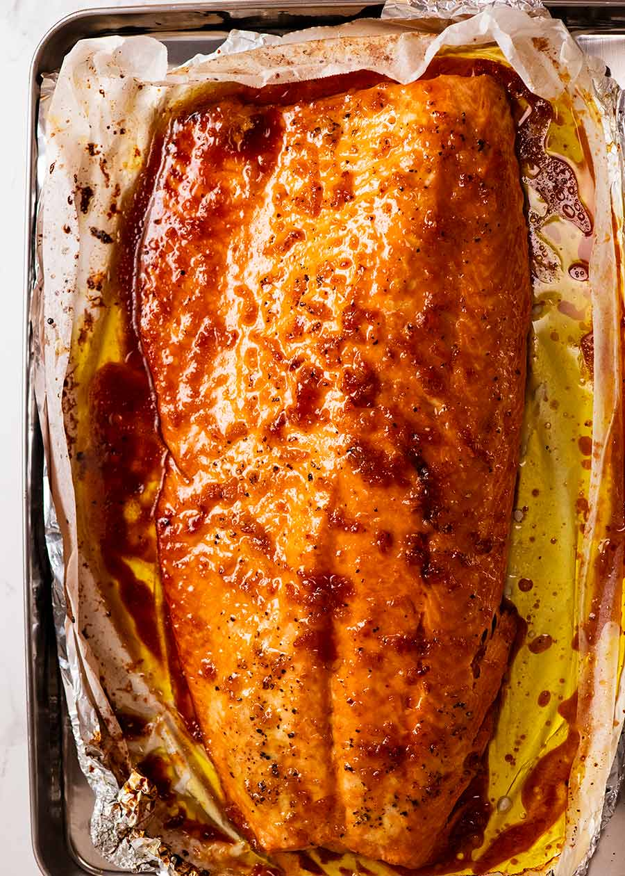 Honey Garlic Butter Glazed baked salmon for Christmas Baked Salmon