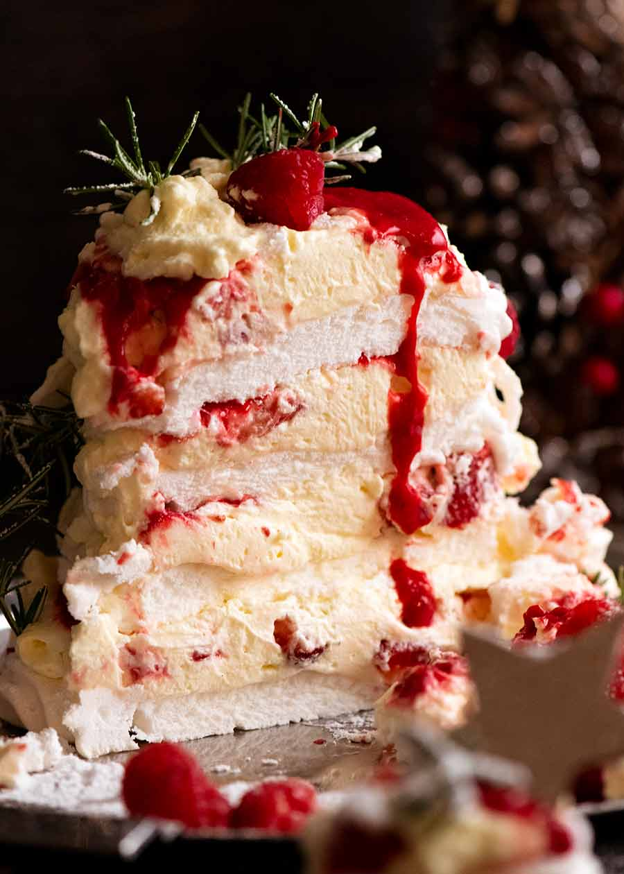 Showing marshmallow inside of Pavlova Christmas Tree Dessert