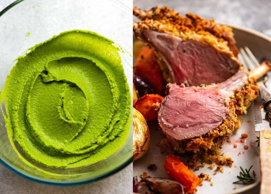 Pea Puree and Rack of Lamb