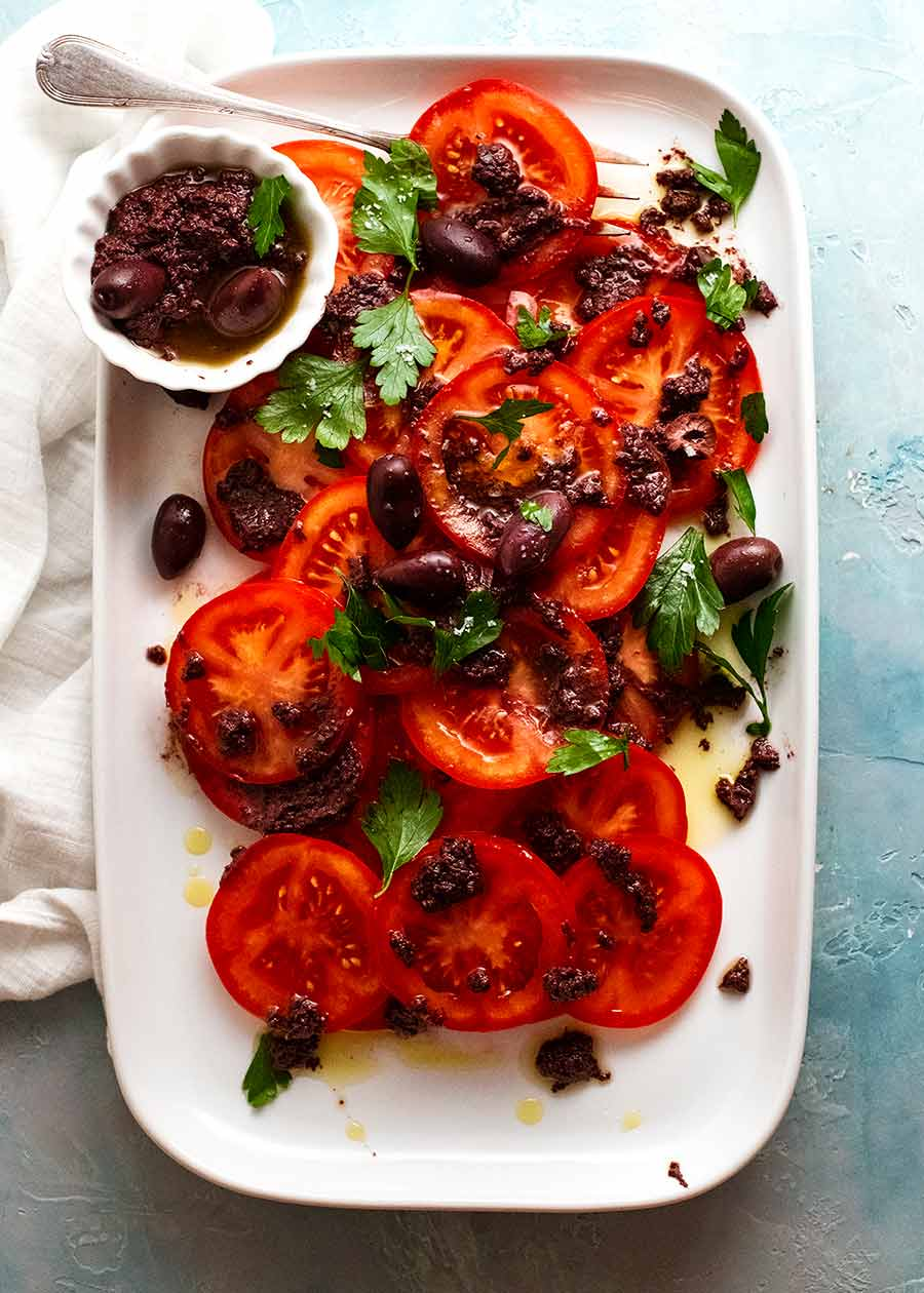 Overhead photo of Tomato Salad with Olive Tapenade
