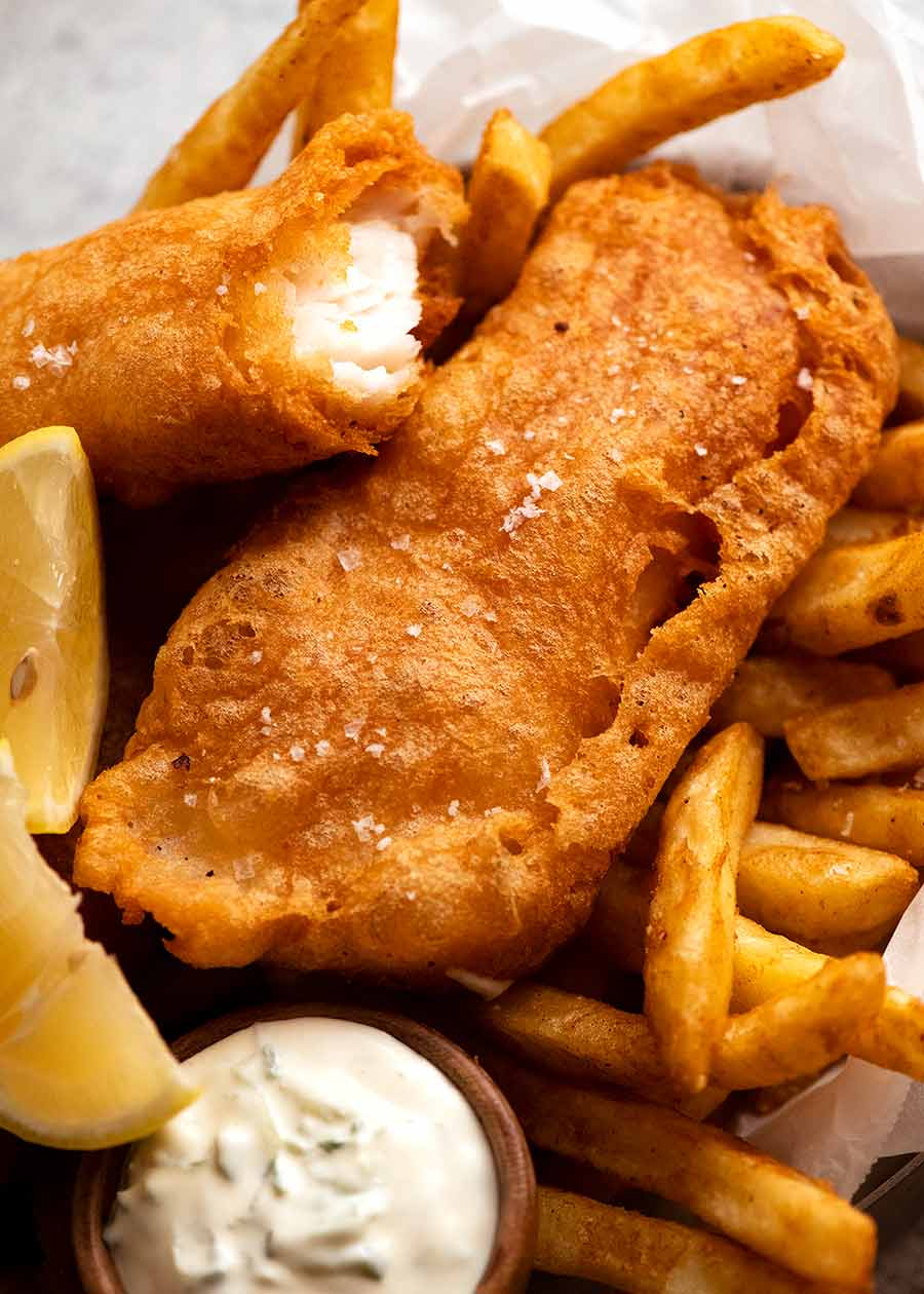 Beer Battered Fish with chips, ready to be eaten