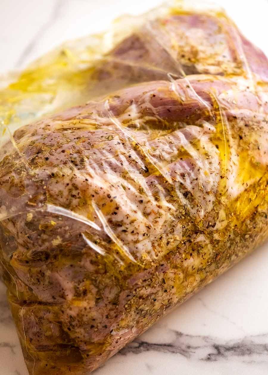 Marinating Greek Butterflied Lamb Leg