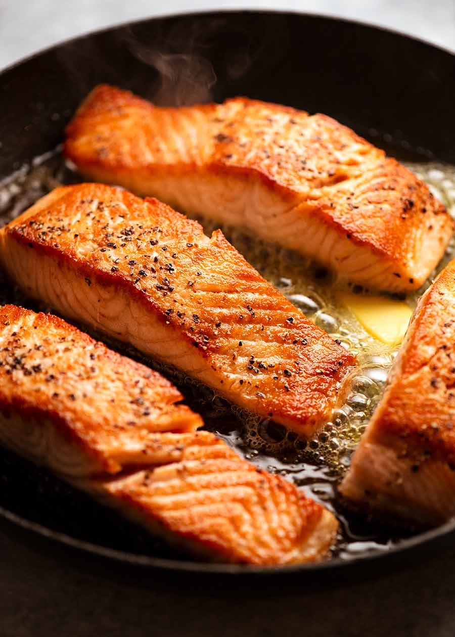 Pan Seared Salmon for Creamy Herb & Garlic Salmon Sauce