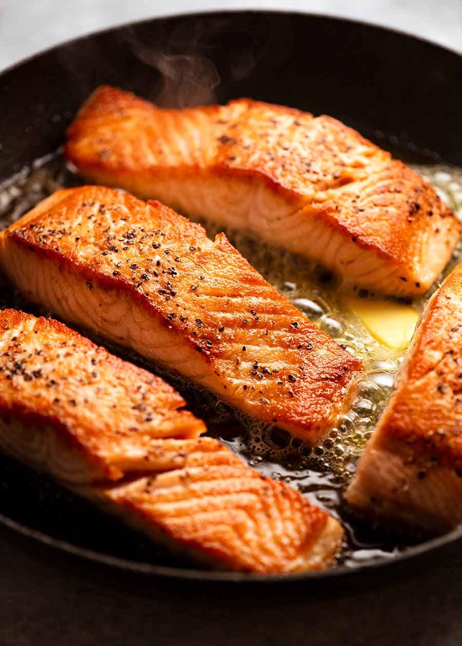 Pan Seared Salmon for Creamy Herb & Garlic Salmon Sauce