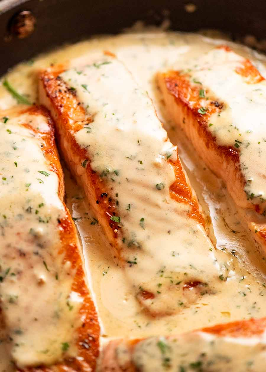 Salmon with Herb & Garlic Cream Sauce