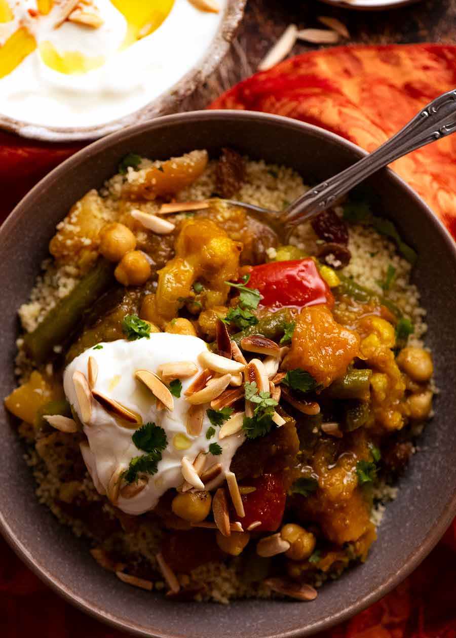 Overhead photo of Vegetable Tagine served over couscous