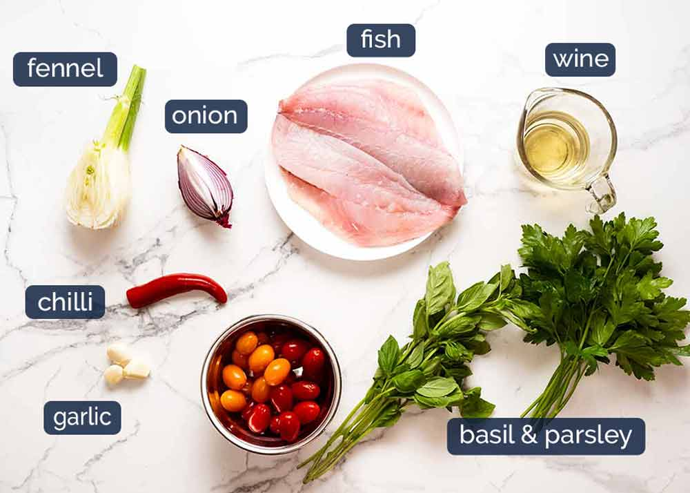 Ingredients in Acqua Pazza - Italian Poached Fish