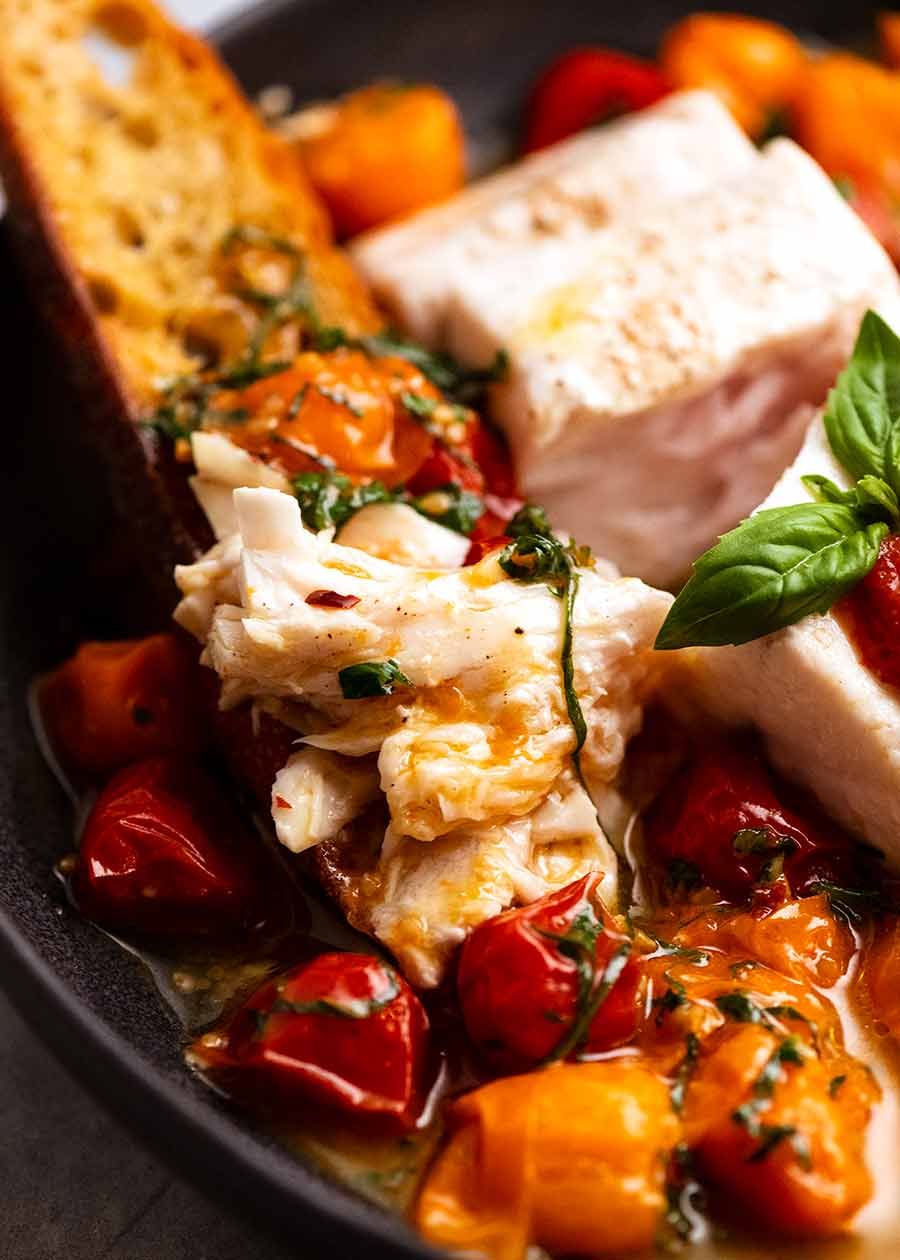 Acqua Pazza - Italian Poached Fish on garlic crostini
