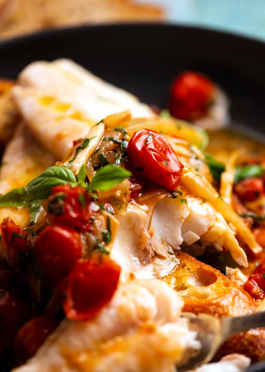 Close up showing the inside of Acqua Pazza - Italian Poached Fish