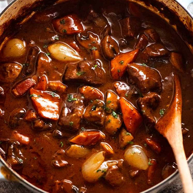 Beef Burgundy - Big pot of freshly cooked Beef Bourguignon, ready to be served