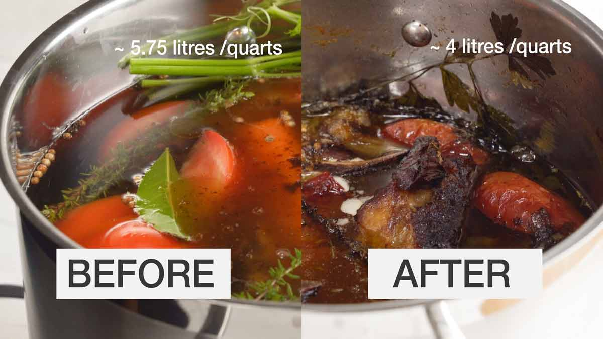Before and after simmering beef stock