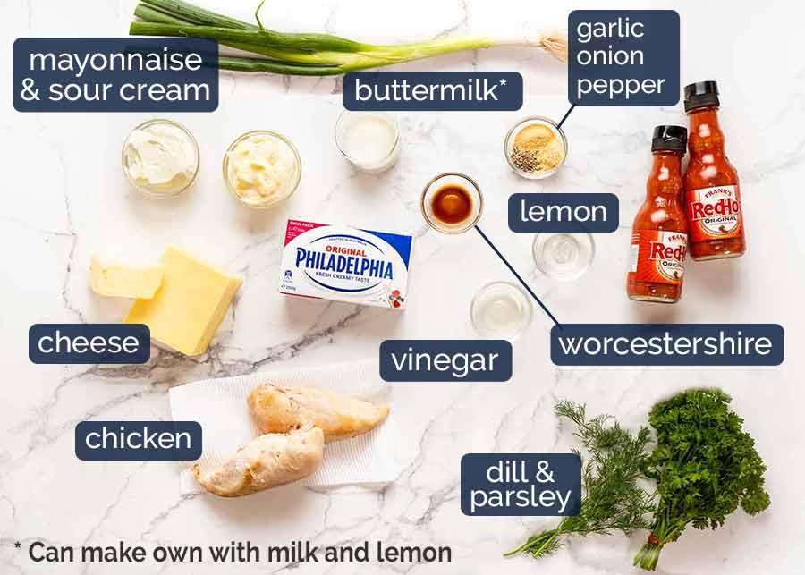 Ingredientes em molho de frango com búfalo quente