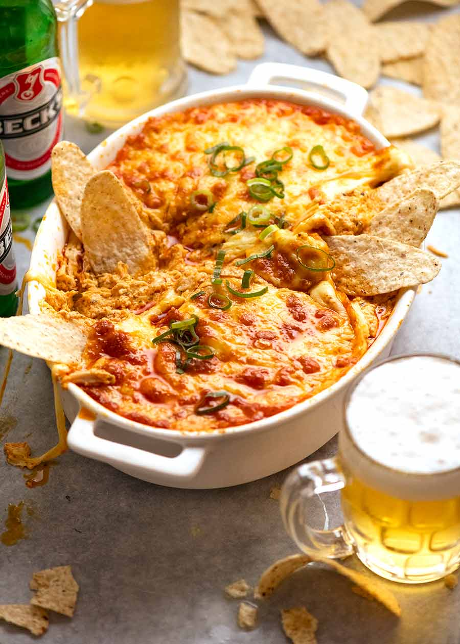 Party devouring Hot Buffalo Chicken Dip