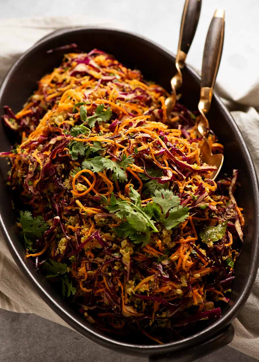 Cabbage and Carrot Thoran-style salad (Indian Salad) in a big bowl, ready to be served