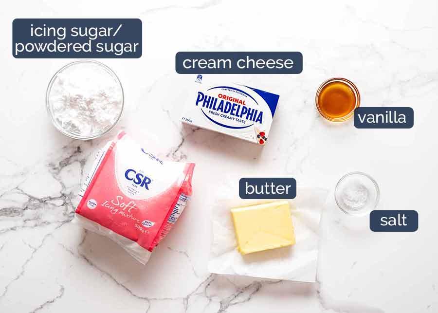 Ingredientes para cobertura de cream cheese