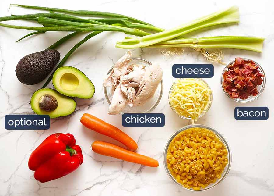 Ingredients in Chicken Pasta Salad with Creamy Dressing