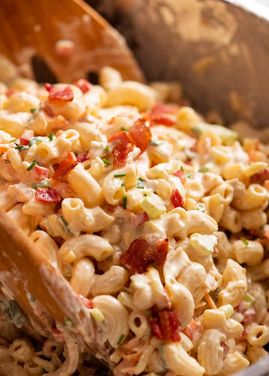 Close up of a big bowl of Chicken Pasta Salad with Creamy Dressing
