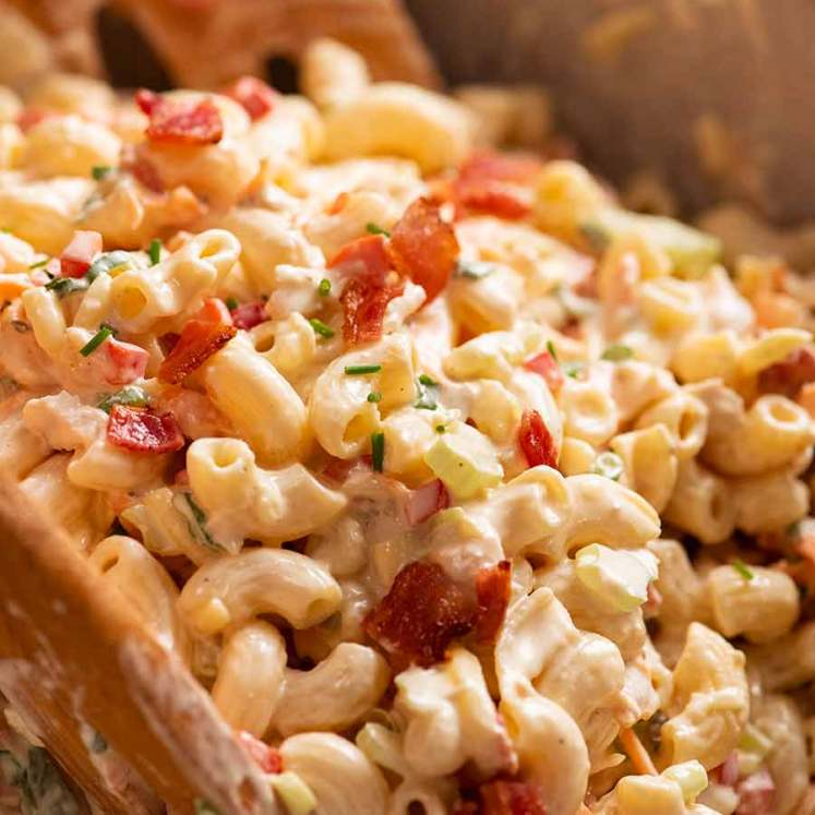Close up photo of Chicken Pasta Salad with Creamy Dressing in a bowl
